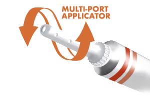 The multi-port applicator provides 360-degree delivery of medicine.