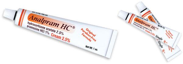 Tubes of Analpram HC in 3 sizes, all marked: Original paraben-free formula.